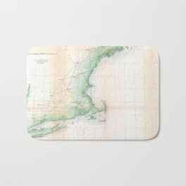 Vintage Coastal Map of New England (1864) Bath Mat