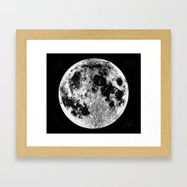 Black + White Full Moon, print by Christy Nyboer Framed Art Print