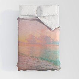 Beautiful: Aqua, Turquoise, Pink, Sunset Relaxing, Peaceful, Coastal Seashore Comforters