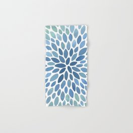 Floral Bloom, Abstract Watercolor, Blue and Green, Floral Prints Hand & Bath Towel