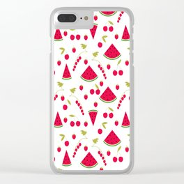 Pattern watermelon cherry raspberry currant Clear iPhone Case