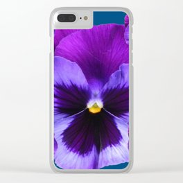 PURPLE PANSIES ON TEAL COLOR Clear iPhone Case