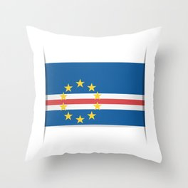 Flag of Cape Verde, officially the Republic of Cabo Verde. The slit in the paper with shadows. Throw Pillow