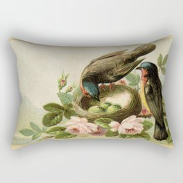 Vintage Birds with Nest Rectangular Pillow