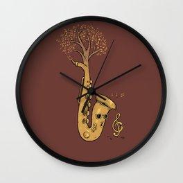 Summer Gold Sax music Tree  Wall Clock