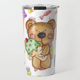 Birthday Boy Bear Cake and Ice Cream Yummy Travel Mug
