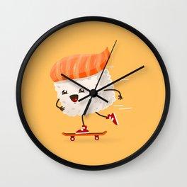 Kawaii sushi skateboarding Wall Clock