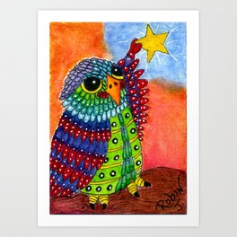 Night Owl Hangs the Evening Star Art Print