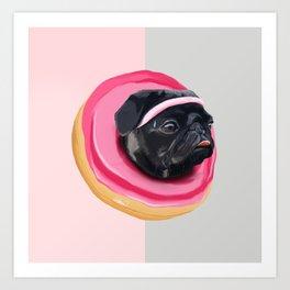 Pug Donut Gym Art Print