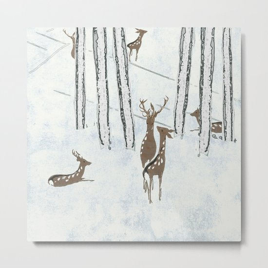 Deers in the snow Metal Print