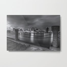 Norfolk Skyline II in Black and White Metal Print