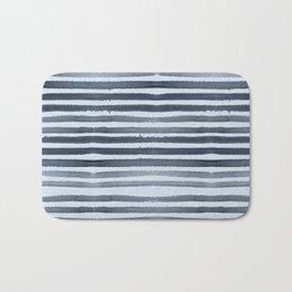 Simply Shibori Stripes Indigo Blue on Sky Blue Bath Mat