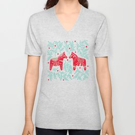 Swedish Dala Horses – Red & Mint Palette Unisex V-Neck