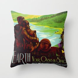 Earth - Your Oasis in Space Throw Pillow