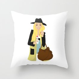 Ice cream girl Throw Pillow