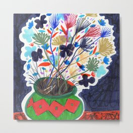 Colorful Flowers Still Life Drawing Metal Print