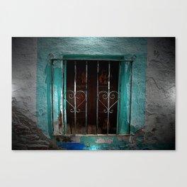 Spain Landscape Photography. Wrought Iron Heart Door Blue Romance Love Picture Canvas Print
