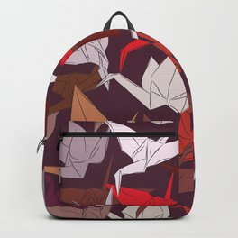 Japanese Origami paper cranes symbol of happiness, luck and longevity, sketch Backpack