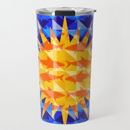 Sunsharks On Blue. Travel Mug
