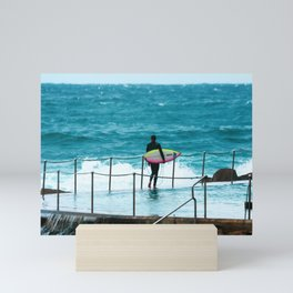 Surfer waiting for entry into the surf at Bronte Beach. Sydney. Australia. Mini Art Print