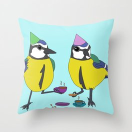 Blue tits drinking tea Throw Pillow