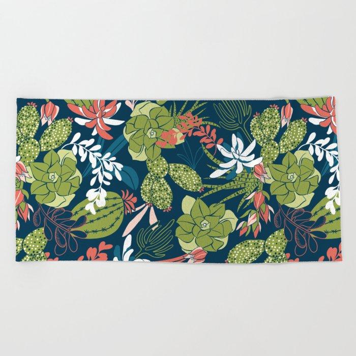 Succulent Garden Navy Beach Towel