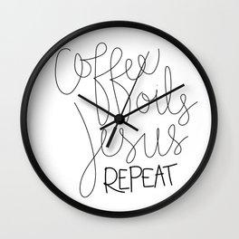 Coffee Oils Jesus Repeat Wall Clock