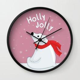 Polar Bear - Holly Jolly Wall Clock