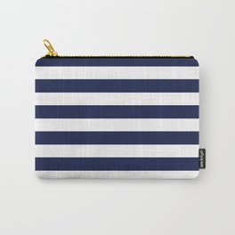 Stripe Horizontal Navy Blue Carry-All Pouch