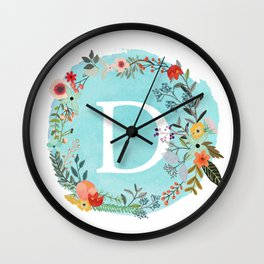 Personalized Monogram Initial Letter D Blue Watercolor Flower Wreath Artwork Wall Clock