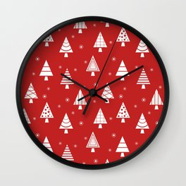 Holiday Christmas Tree Pattern (cranberry) Wall Clock