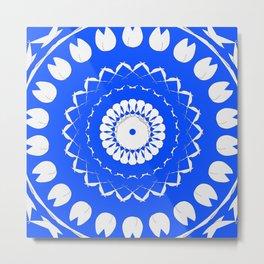 Greek Blue & White Mosaic Metal Print