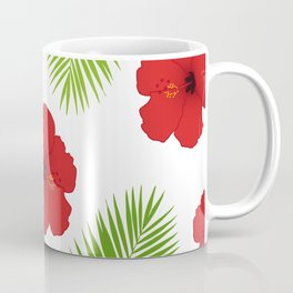 Red hibiscus and palm leaves seamless pattern. Coffee Mug