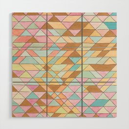 Triangle Pattern No. 25 Gold Pink Turqouise Wood Wall Art
