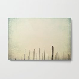 sailboat masts all in a row ... Metal Print