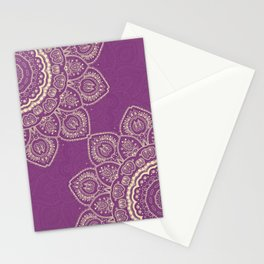 Tulips Mandala in Radiant Orchid Color Stationery Cards