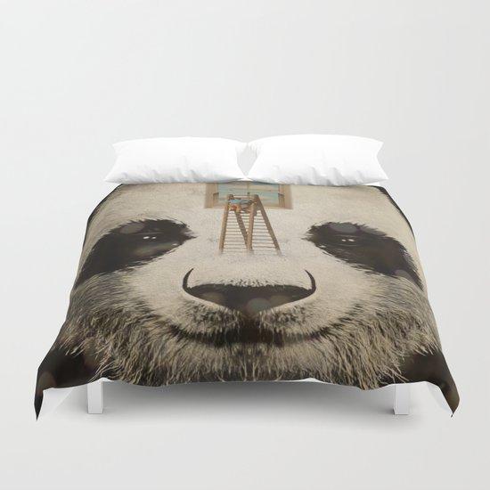 Panda window cleaner 02 Duvet Cover