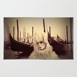 Venice Italy Carnival - Girl in Mask and Gondolas Rug