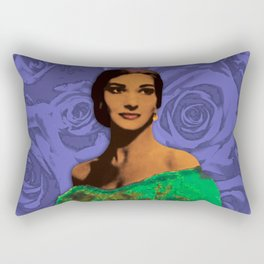 Maria Callas Stenciled Indigo Rectangular Pillow