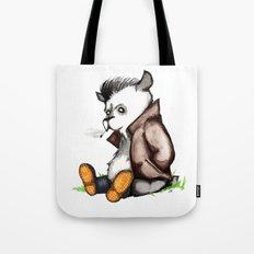 Greaser Rockabilly Panda Bear Watercolor/Pen&Ink Tote Bag