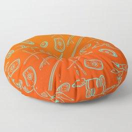 Tarot Illustration (neon blue and orange) Floor Pillow