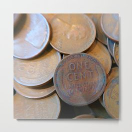 Watercolor Coins, Lincoln Wheat Pennies, 1925 03 Metal Print