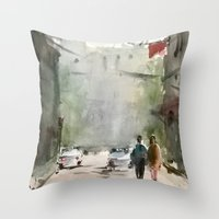 street Throw Pillows featuring Street by Baris erdem