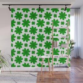 Four Leaf Clover Shamrock Green Vegetation Pattern Wall Mural