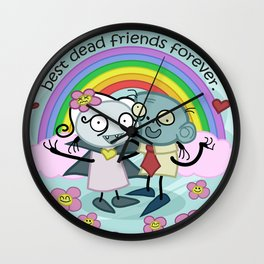Best Dead Friends Forever - Steve the zombie & Violet the vapire Wall Clock