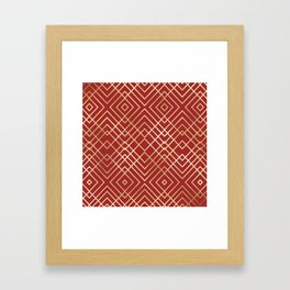 Modern Chinese Red Art Deco Geometric Pattern Framed Art Print