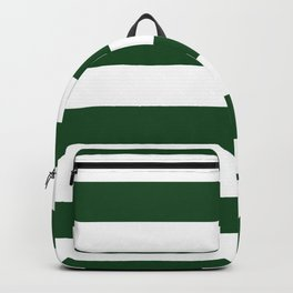 Jumbo Forest Green and White Rustic Horizontal Cabana Stripes Backpack