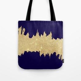 Modern abstract navy blue gold glitter brushstrokes Tote Bag