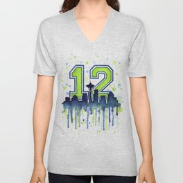Seattle 12th Man Art Seattle Skyline Space Needle Unisex V-Neck