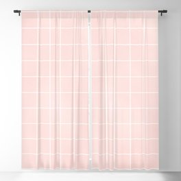 Pink Coral Grid Blackout Curtain